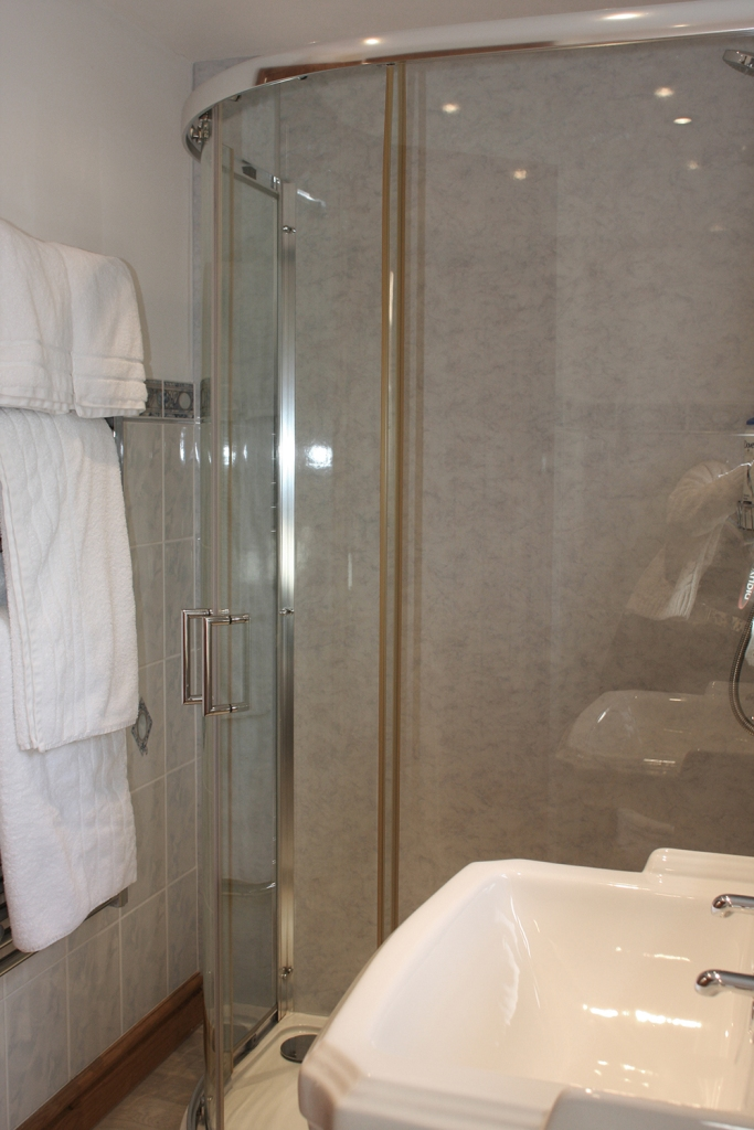 The Tamar room has a bright and clean bathroom with a walk in shower.