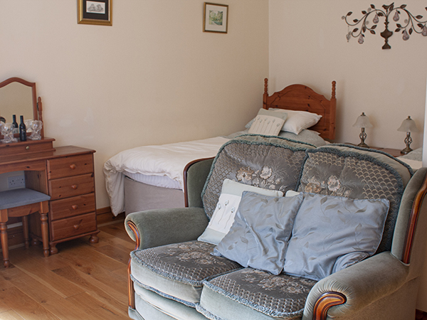The beautiful Torridge Room at Forda Farm Bed and Breakfast can sleep up to three people.