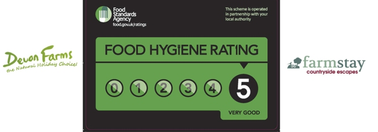 Forda Farm Bed and Breakfast has a 5 star food hygiene rating.